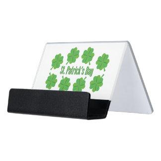 St Patrick Tag mit Klee Schreibtisch-Visitenkartenhalter