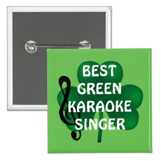 St Patrick Tagesbester Karaoke-Sänger-Knopf Quadratischer Button 5,1 Cm