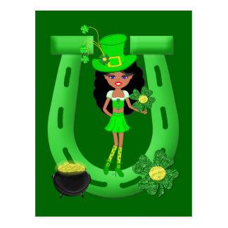 St Patrick Tagesbrünetter Mädchen-Kobold Postkarte