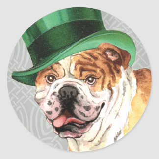 St Patrick Tagesbulldogge Runder Aufkleber