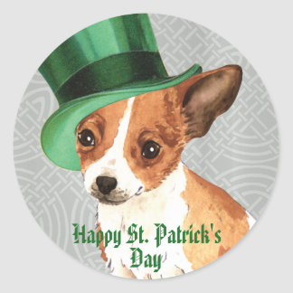St Patrick TagesChihuahua Runder Aufkleber