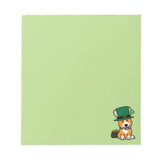 St Patrick Tagescorgi-Kobold-Hundewelpen-Hündchen Notizblock