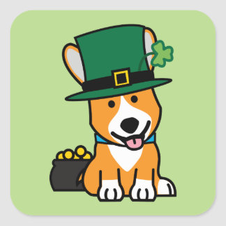 St Patrick Tagescorgi-Kobold-Hundewelpen-Hündchen Quadratischer Aufkleber
