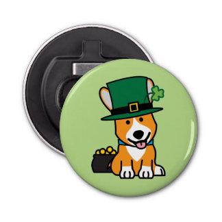 St Patrick Tagescorgi-Kobold-Hundewelpen-Hündchen Runder Flaschenöffner