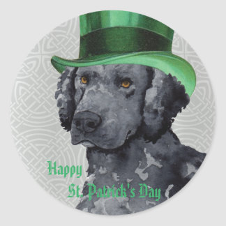 St Patrick TagesCurly-Coated Retriever Runder Aufkleber