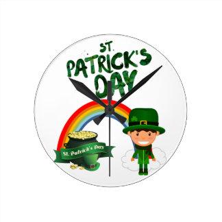St Patrick Tagesgeschenke Runde Wanduhr