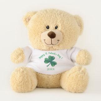 St Patrick Tagesgrün-Klee personalisiert Teddybär