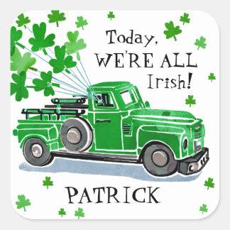 St Patrick Tagesgrün-Vintager LKW addieren Namen Quadratischer Aufkleber