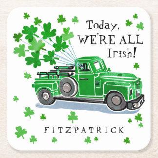 St Patrick Tagesgrün-Vintager LKW addieren Namen Rechteckiger Pappuntersetzer