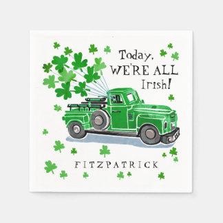 St Patrick Tagesgrün-Vintager LKW addieren Namen Serviette