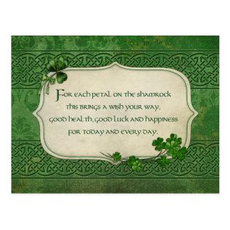 St Patrick Tagesirischer Kleeblatt-Segen Postkarte