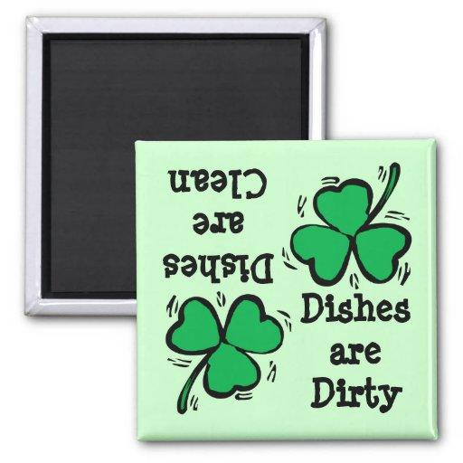 St Patrick Tagesklee sauberes schmutziges Diswashe Magnets