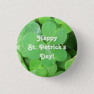 St Patrick TagesKleeblatt Runder Button 3,2 Cm