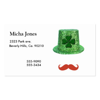 St Patrick Tagesschein-Hut u. Ingwer-Schnurrbart Visitenkarten Vorlagen