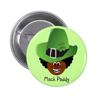 St Patrick Tageszuhälter-Art Mack Paddy Leprechuan Runder Button 5,7 Cm