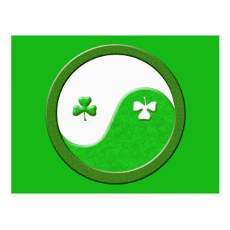 St Patrick trifft Taoismus Postkarte