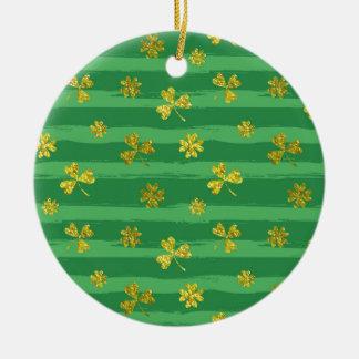 St. patricks goldene Kleeblätter Keramik Ornament