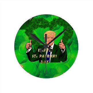St. patricks Tag Donald Trump Runde Wanduhr
