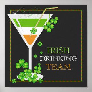 St.Patricks TagesKleeblatt-Cocktail-Plakat Poster