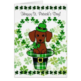 St- Patricktagesroter glatter Dackel-Hut Karte