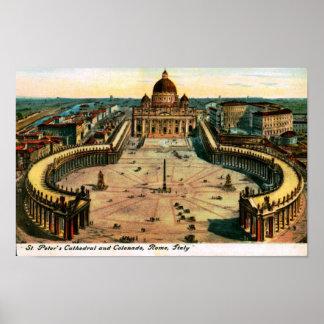 St Peter Kathedrale, Rom, Italien Vintag Poster
