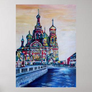 St Petersburg mit Kirche des Retters auf Blut Poster