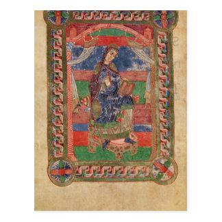 St. Radegund auf einem Thron Postkarte