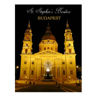 St Stephen Basilika nachts, Budapest, Ungarn Postkarte