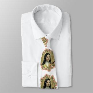 St. Therese das kleine Blumen-Rosen-Kruzifix Krawatte