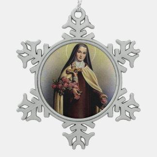 St. Therese des Kindes Jesus wenig Blume Schneeflocken Zinn-Ornament