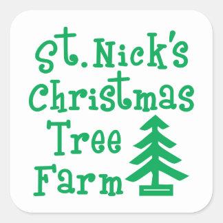 St. Weihnachtsbaum-Bauernhof des Nicks Quadratischer Aufkleber