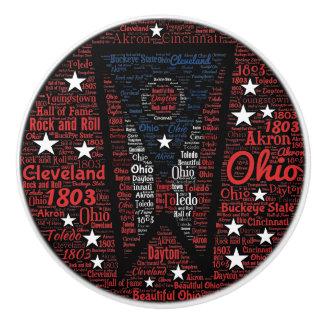 Staat des Ohio-Wort-Kunst-Keramik-Griffs Keramikknauf