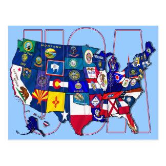 Staat kennzeichnet Flagge Karte USA Vereinigte Postkarte