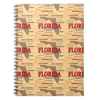 Staat von Florida-Karte, Miami, Orlando, Key West Notizblock