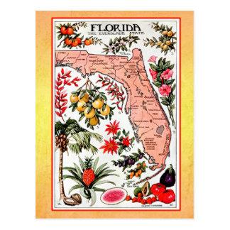 Staats-Karte von Florida (Vintage Neuauflage) Postkarten