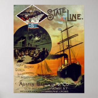 Staats-Linie Vintage Kreuzfahrt-Schiffs-Reise-Kuns Poster