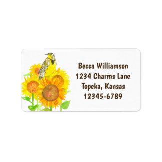 Staats-Vogel der Sonnenblume-Adresse Kansas Adressaufkleber