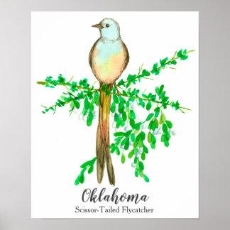 Staats-Vogel von Oklahoma Scissor angebundenen Poster