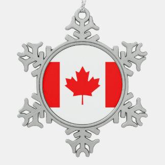 Staatsflagge von Kanada, Ahornblatt, hoch einzeln Schneeflocken Zinn-Ornament