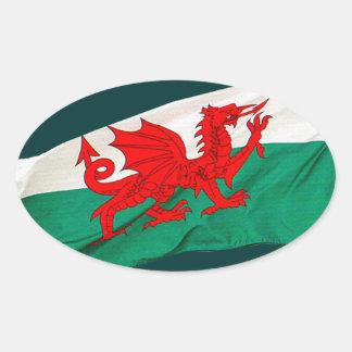 Staatsflagge von Wales, der rote Drache Ovaler Aufkleber