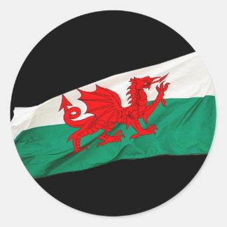 Staatsflagge von Wales, der rote Drache Runder Aufkleber