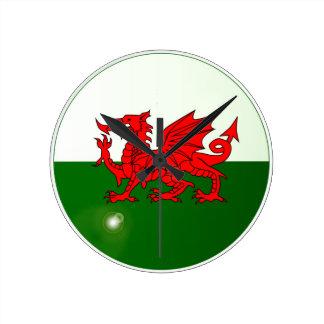 Staatsflagge von Wales-Knopf Runde Wanduhr