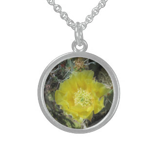 Stachelige Birnen-Gelb-Blüte nah Sterling Silberkette