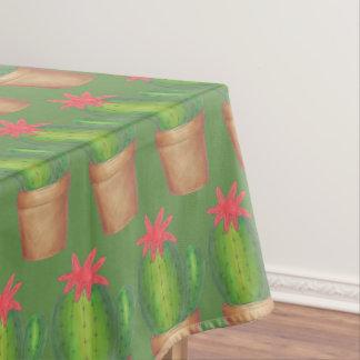 Stachelige grüne Kaktus-Garten-Blumen-eingemachte Tischdecke