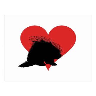Stachelschwein mit einem großen roten Herzen Postkarte