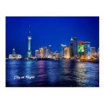 Stadt an der Nachtpostkarte Postkarten