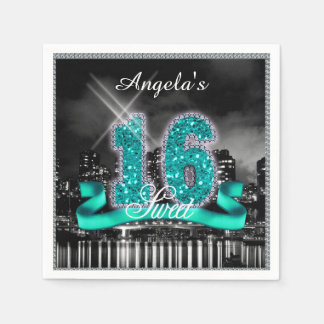 Stadt beleuchtet 16. Geburtstag aquamarines ID120 Papierservietten