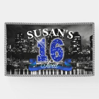 Stadt beleuchtet 16. Geburtstag blaues ID118 Banner