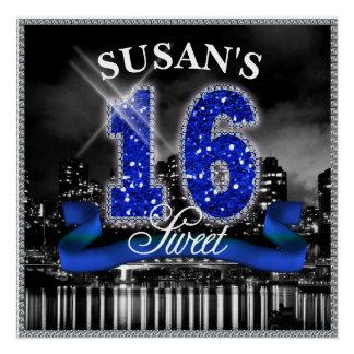 Stadt beleuchtet 16. Geburtstag blaues ID118 Poster