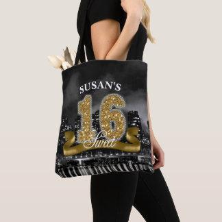 Stadt beleuchtet 16. Geburtstag-Gold ID243 Tasche